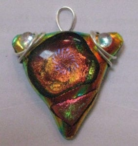 Fused Art Glass Dichroic Pendant Wire Wrapped